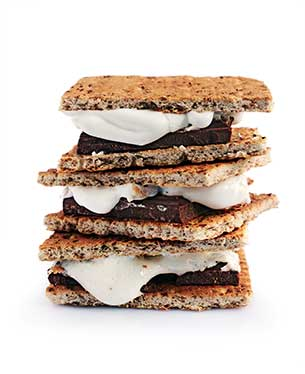 Fresh homemade smores with marshmallows, chocolate and graham crackers isolated on white background. The popular American cuisine dessert.